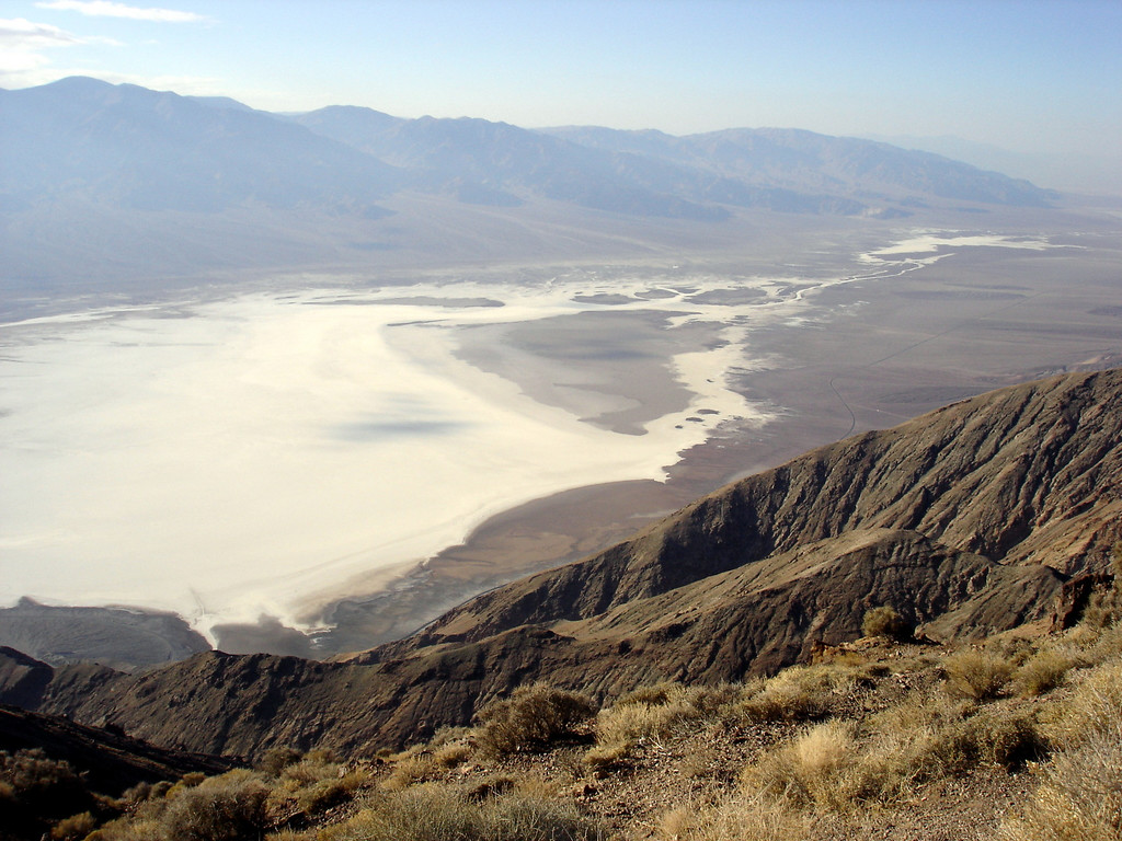 </br> The view of Badwater Basin & Death Valley from Dante's View, DVNP.  Elevation at Dante's view is 5475', Badwater below is -282'. </br>