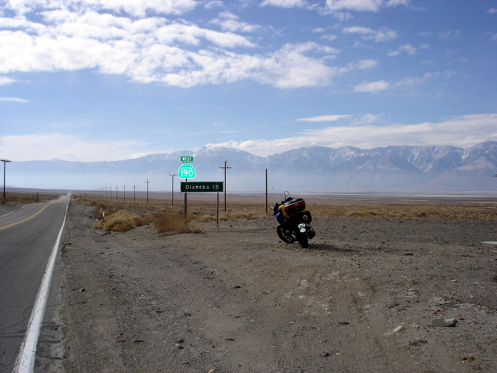 </br> CA Hwy 190, Owen's Valley, east of Olancha, CA.  The Sierra Nevada Range in the distance. </br>