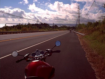 The descent into Hilo on Hwy 19. Newer bike.