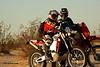 John Deykes (Aprilia RXV450) and Charlie Rauseo discussing Dakar navigation in CA, 2007
