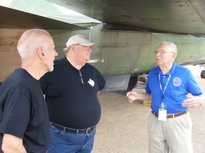 Larry and Rex getting some WWII first hand stories from museum tour guide Don.  He was on a B-29 during the Japan bombings.  There were 6 B-29s and he was on one of the 4 that did not drop bombs.  He did fly over Hiroshima at 7,000 ft and saw the aftermath.  Fascinating man to chat with and i recommend visiting him when you visit the HAMM Museum.
