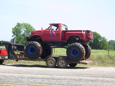 Monster Mud trucks were across the street from Fugler's