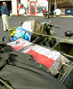 Goodies for the birds are thrown over the spare tire on Larry's (sorry, don't know his last name) military-style Ural sidecar rig.