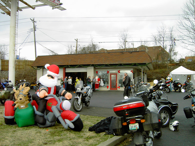 The blow-up Santa's front wheel looks like it has an alignment problem.