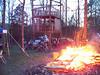 Friday night bonfire and the tree house.