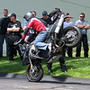 Stoppie on the F800GS stunt bike.