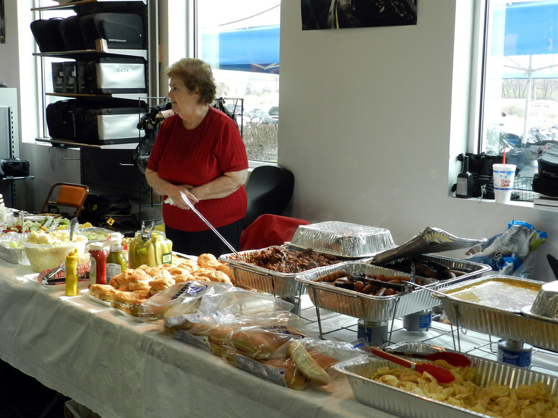 Liz Huff's mom stands guard over the food.