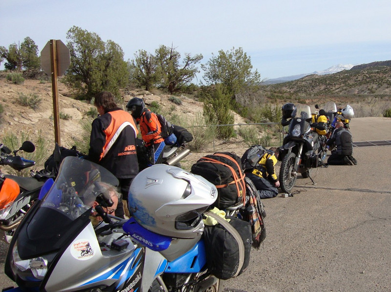 Airing up tires getting onto Ut 95 after Cottonwood Wash river crossing Day 3