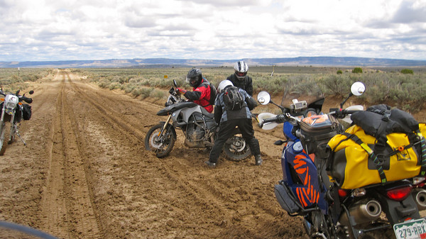 Second muddy oil field road north of 550 Day 1.  This group turned back.