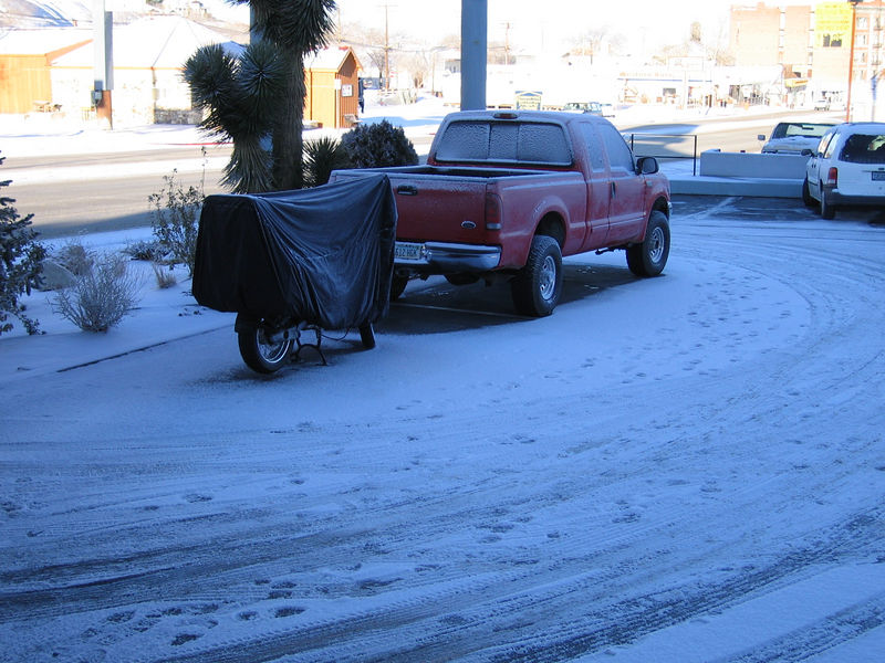 I rode to Tonopah and stayed the night. Here's what I found in the morning. Eek.