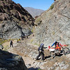 """Traffic jam at the famed """"Goler steps"""" that eat dual sports for lunch."""