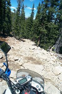 KLR 650 on technical Silver Creek Trail