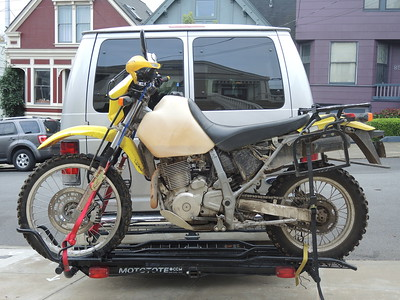 Darrell's DR650 ready to be unloaded after I bought it in 2015.