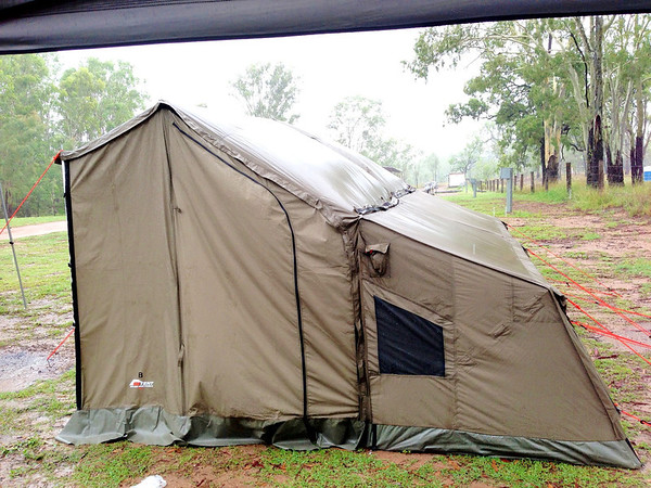 OzTent - not cheap but we were warm and dry the whole time and they are pretty quick and easy to setup and pack away.
