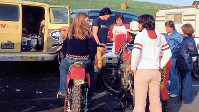 """Darlene """"Gabby"""" Tannlund and Jim Gianatis. Jim Dallara, Gary Murphy (hat) and my girlfriends parents (in blue) - Hanging out at Sears Point."""