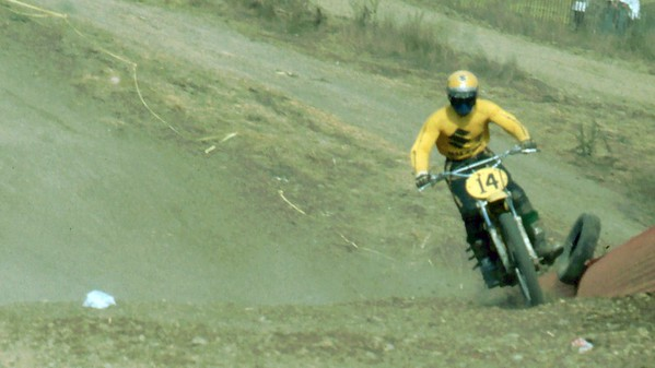 Billy Grossi on a 500cc factory Suzuki. I think Billy lived in Santa Cruz, Ca. Just up the road from Watsonville.
