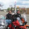 Kristine and John at Mile 0 of the Alaska Highway, Dawson Creek, B.C.