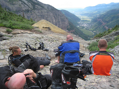 Lots of laughs while looking down on Telluride from near the top of Black Bear Pass.