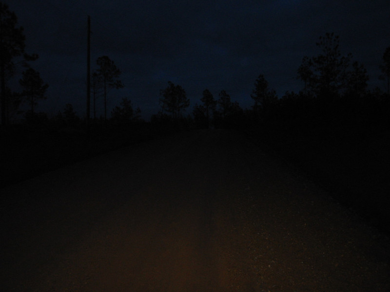 Fantastic illumination, yes? Darkness, rain, and this feeble headlight made the trip home somewhat nerve racking.