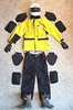 Motorcycle Clothing that protects! <br /> <br /> This photo shows all the gear I wear ANY time I ride: <br /> <br /> It includes Shoei full-face helmet, leather gloves with kevlar inserts, Aerostich GoreTex jacket with pads (shown alongside) including elbows, shoulders and spine (not visile).  I also have Aerostich pants with hip and knee pads.  The boots are a stiffer motocross/dirt riding type.  I WISH I had worn these boots during the accident, then I wouldn't have even had the foot injury.<br /> <br /> As far as I'm concerned, anybody riding without full protection is a fool.