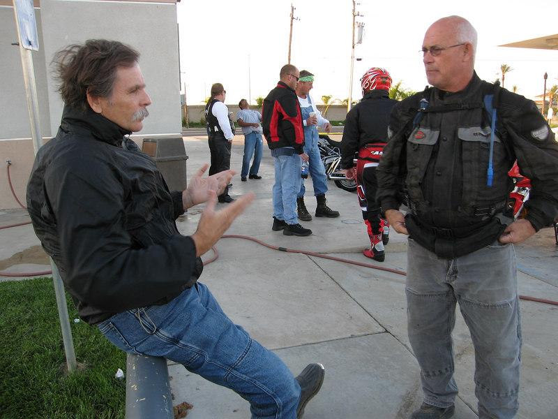 Joe and Brad chatting at our meeting point, the Chevron station at Mesa Marin.