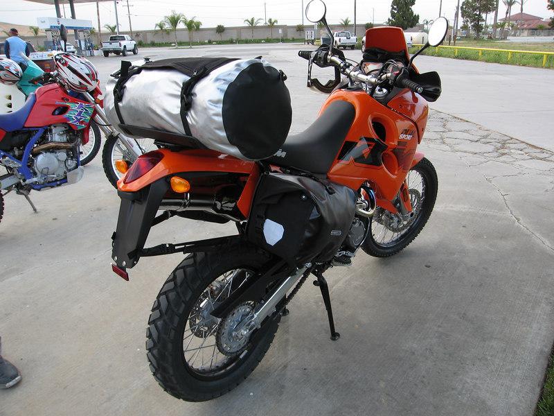 Kelly's fully loaded, brand-new KTM 640 Adventure