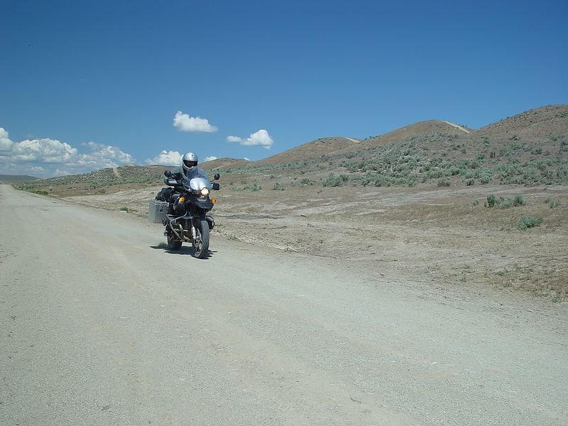 Mark doing about 70 mph on the gravel road.