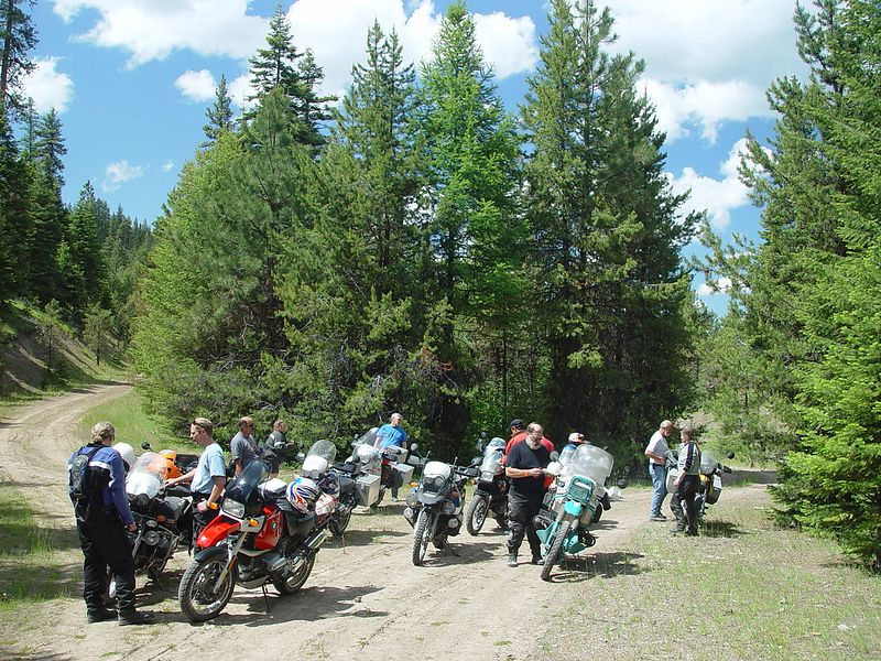 The GS, group taking a break before taking on the next section of the off road challenge near John Day.