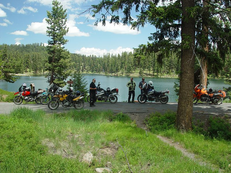 GS, riders stop by a high mountain lake about 20 miles north of John Day.