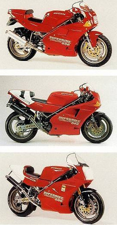 Top to bottom: '94 888 Strada, '93 888 SP5, '94 888 Racing.