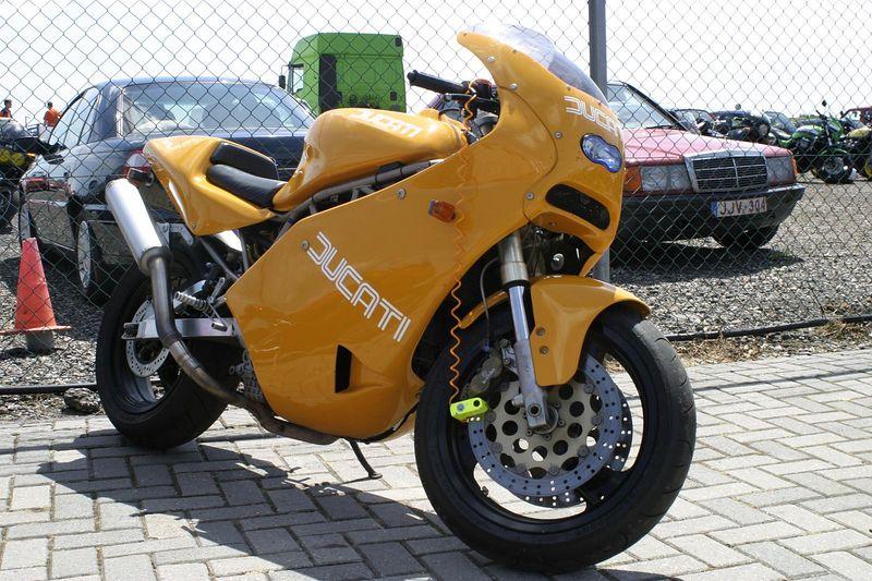 orange Ducati motorcycle
