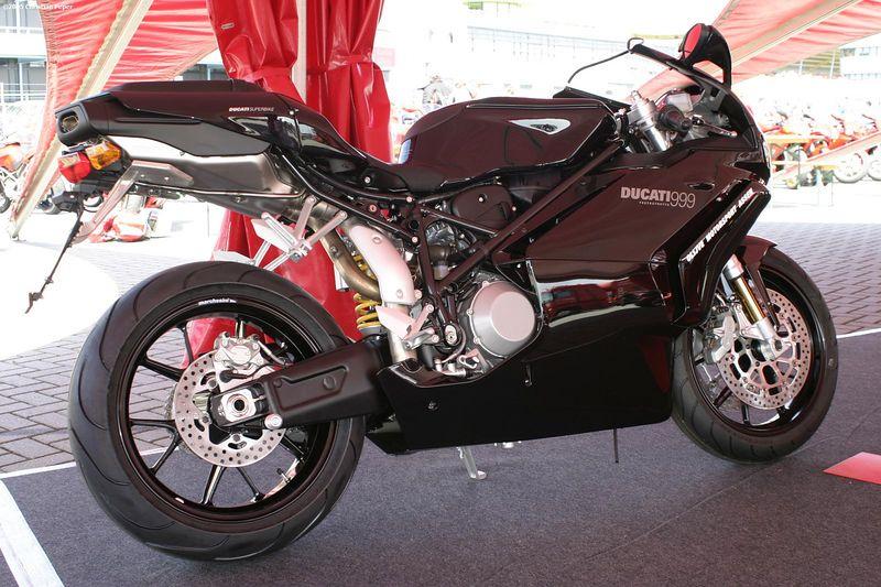 A brand new black Ducati 999