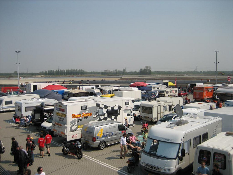 Overlooking the paddock area towards the new corners of the TT circuit in Assen. That's where all the dust and sand came from.