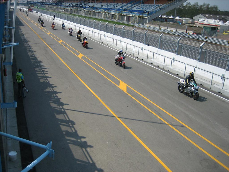 Start of a race, the warmup lap