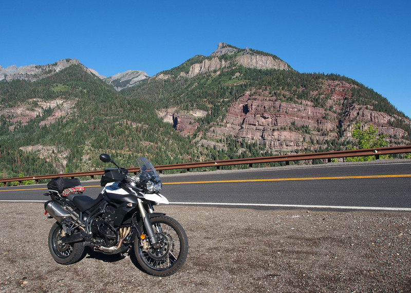 Triumph Tiger 800XC at Ouray, CO where I made the panorama.