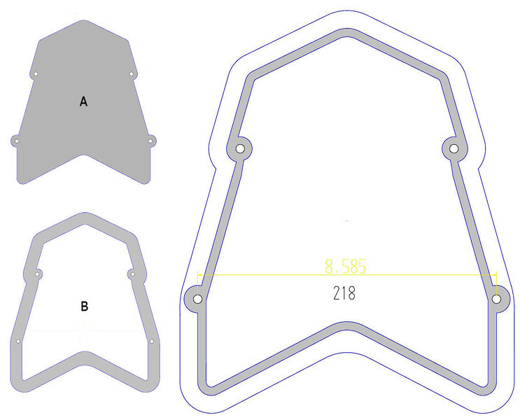 1/6: Multistrada 1200 - modification to Andy's rear carrier/rack, addition of an aluminium base/surround:<br /> (A) the rack (B) the aluminium base/surround<br /> ....the larger scale drawing shows the area CNC Milled so that the rack plate sits in the base flush.