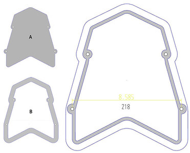 1/6: Multistrada 1200 - modification to Andy's rear carrier/rack, addition of an aluminium base/surround: (A) the rack (B) the aluminium base/surround ....the larger scale drawing shows the area CNC Milled so that the rack plate sits in the base flush.