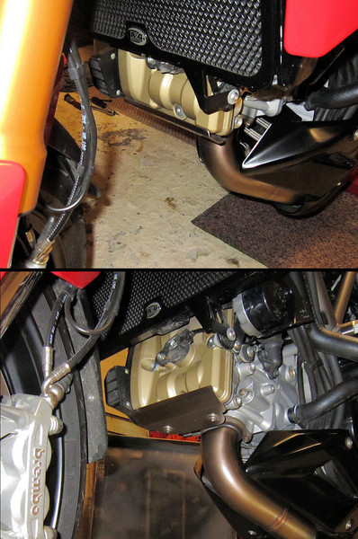 """Ducati Multistrada 1200 - the front cylinder head / valve cover is vulnerable to damage from stones / debris kicked up by the front tyre - solution, a custom stainless steel guard/protector (MKI) (in conjunction with a fender extender for the front mudguard)<br /> More info here :  <a href=""""http://www.motorcycleinfo.co.uk/index.cfm?fa=contentGeneric.psqlmptrfsppjcbe&pageId=2171285#hub_tool"""">http://www.motorcycleinfo.co.uk/index.cfm?fa=contentGeneric.psqlmptrfsppjcbe&pageId=2171285#hub_tool</a>"""