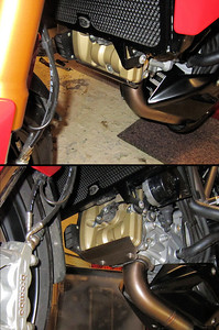 Ducati Multistrada 1200 - the front cylinder head / valve cover is vulnerable to damage from stones / debris kicked up by the front tyre - solution, a custom stainless steel guard/protector (MKI) (in conjunction with a fender extender for the front mudguard) More info here :  http://www.motorcycleinfo.co.uk/index.cfm?fa=contentGeneric.psqlmptrfsppjcbe&pageId=2171285#hub_tool