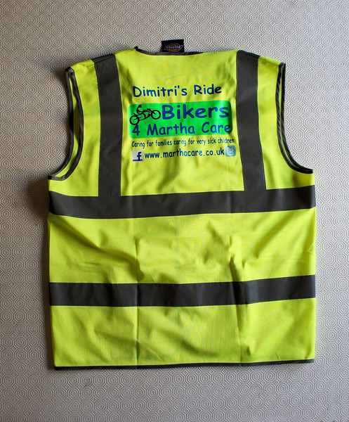 Event hi-vis vests promoting what we were doing: Bikers for Martha Care - Dimitri's Ride<br /> Dimitri loves motorcycles...in particular yellow ones! ;-)
