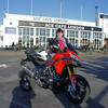 CaroleB and my Multistrada 1200 - Small world!.....by pure coincidence met Carole from Multistrada.net at the Ace Cafe