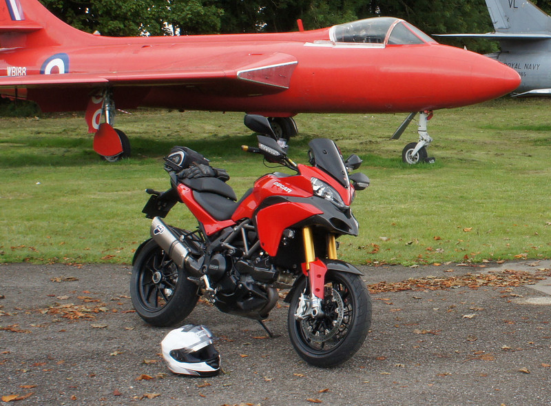 2/5 (closer look) - Kemble Airport, Gloucestershire - 'retired' Hawker Hunter aircraft and of course my Multistrada 1200 :-)