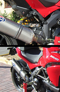 Replacement exhaust hanger for the full Termignoni exhaust system............much neater! :D And to fit the Ducati panniers and/or take a pillion passenger you simply fit the original OE pillion peg carriers on top :-)