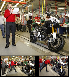 16Feb2010 - Following the Ducati tradition, the newest member of the Italian marque's family, the Multistrada 1200 received it's official christening with the mandatory bottle of bubbly, when the first MTS in white, rolled off the production line in Borgo Panigale, in the presence of Claudio Domenicali, Gabriele Del Torchio and Silvano Fini.
