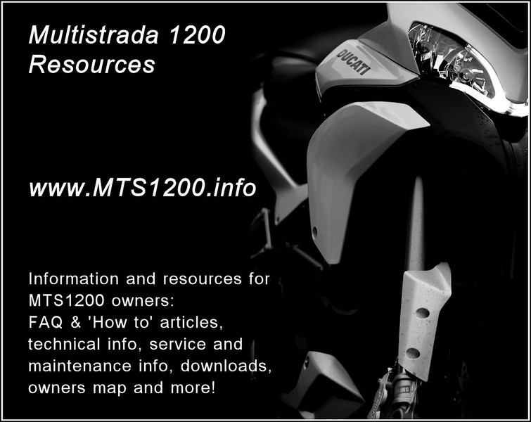 "Ducati Multistrada 1200 / MTS1200 owners resource<br />  <a href=""http://www.MTS1200.info"">http://www.MTS1200.info</a>"