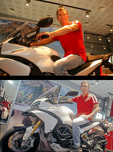 Troy Bayliss at the opening of the Ducati Store in Dubai trying the new Multistrada 1200 for size :-)