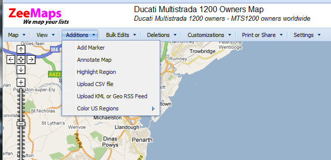 Ducati Multistrada Owners Map - adding a marker