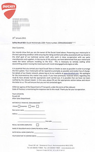 """Safety Recall 822 - Letter from Ducati Jan2011 """"This is necessary to remedy stalling while downshifting and/or moving the motorcycle with clutch engaged and engine at idle"""""""