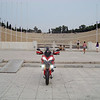 Greek Multistrada 1200, owner 'Teris' - AT THE OLD OLILPIC STADIUM PANATHINAIKOS IN ATHENS<br /> HERE WAS FINISH THE GREEK MARATHON RUNNER SPIROS LOUIS<br /> AND HERE IS THE START FROM MARATHON EVERY YEAR