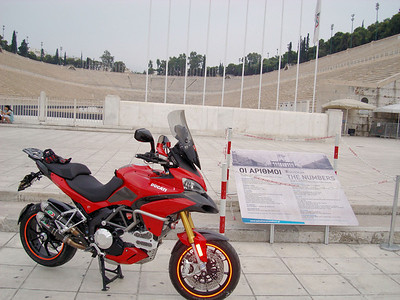 Greek Multistrada 1200, owner 'Teris' - AT THE OLD OLILPIC STADIUM PANATHINAIKOS IN ATHENS HERE WAS FINISH THE GREEK MARATHON RUNNER SPIROS LOUIS AND HERE IS THE START FROM MARATHON EVERY YEAR